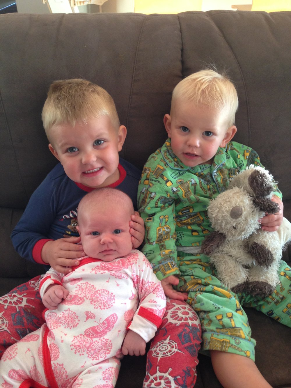 Jack aged (nearly) 3, Billy 18 months and Charli 5 weeks