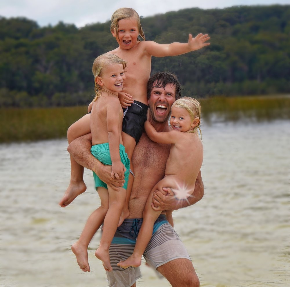 Dad's are heaps fun! Lake Birabeen.