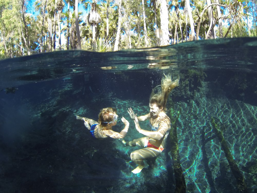 Jack and Bec underneath Bitter Springs