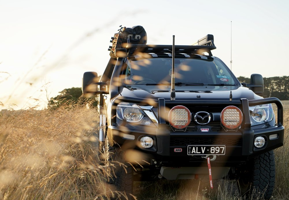 Up front is the ARB Summit Bar, Warn Winch, Intensity Lights & ARB under body protection.