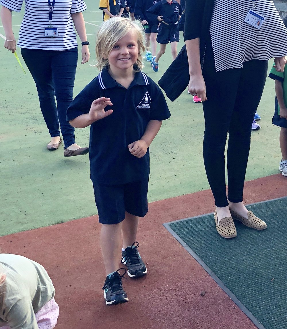 Jack on his first day of school. He went for 20 days. So.Freakin.Cute.