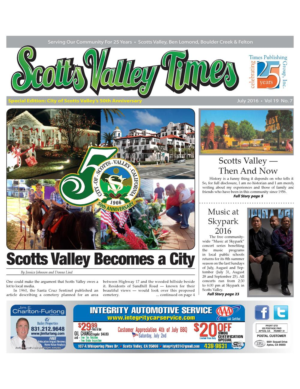 Scotts Valley Times, July 2016