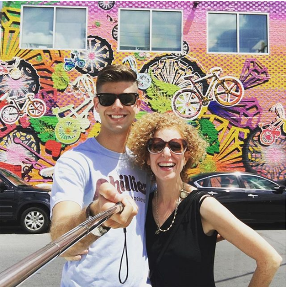 Rob visiting a Philly mural with Candy Coated, one of the artists!