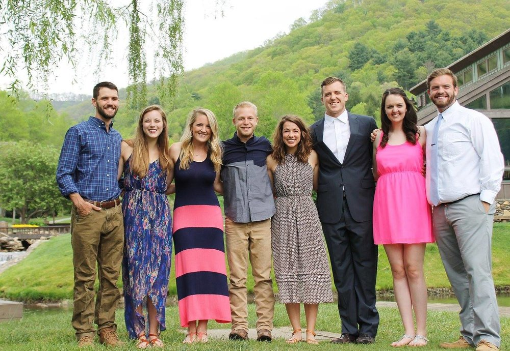 """Courtney and her fellow 2015-2016 Windy Gap yearlong interns on the night of their own """"intern prom""""."""