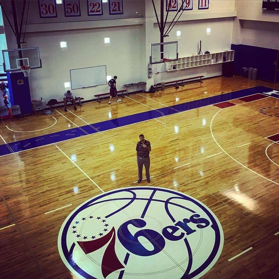 Rob on the floor of the Sixers' practice facility at PCOM at the end of this past season.