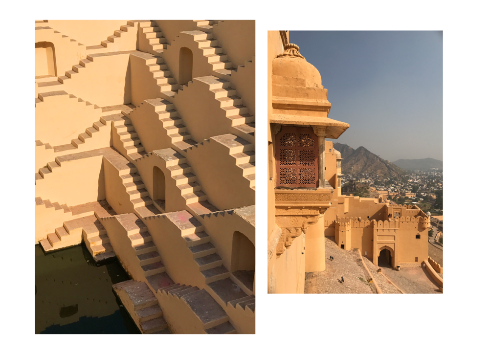 Left: A step well outside Jaipur. Right: One of the entrances to Amer Fort, Jaipur.