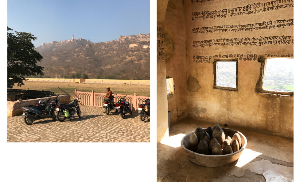 Left: Looking up at the Amer Fort in Jaipur. Right: a corner on the top floor of RAAS Devigarh.