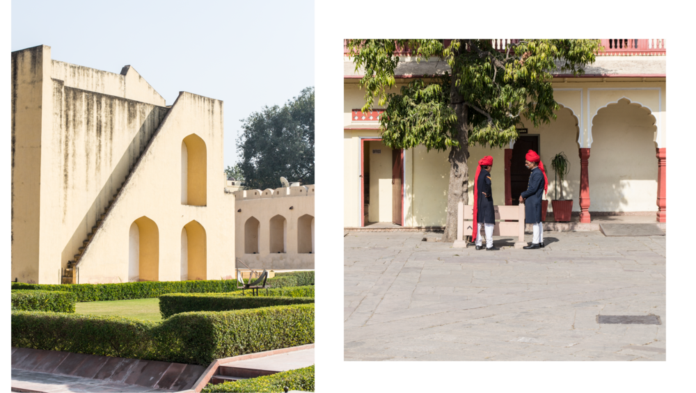 Left: the observatory at Jaipur. Right: Guards inside the Jaipur City Palace.