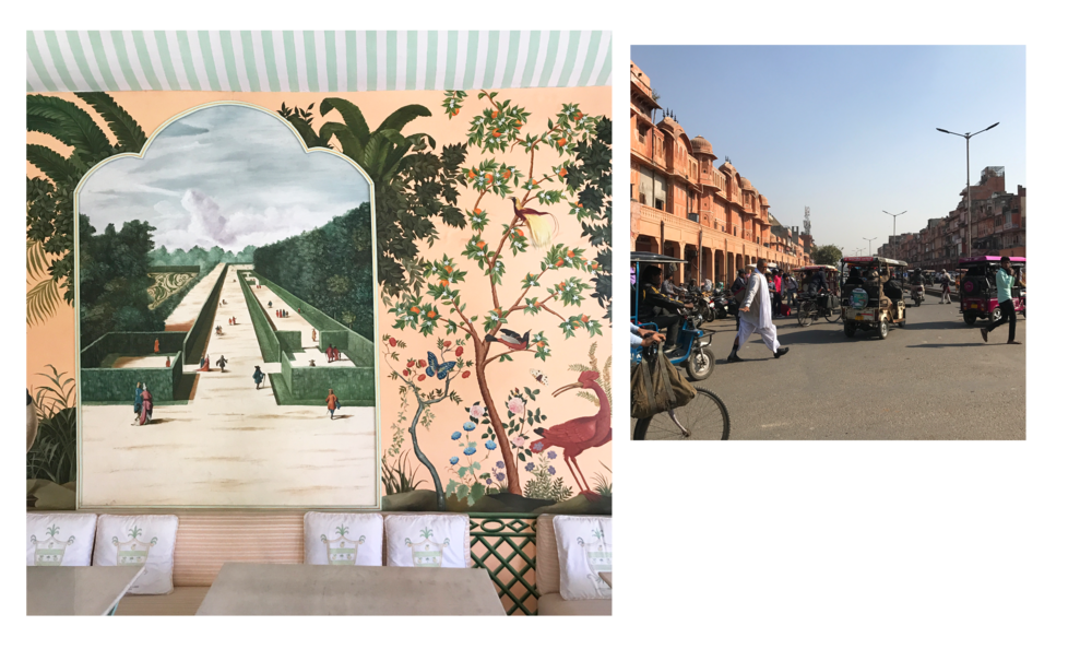 Left: The dining room at Cafe Palladio in Jaipur. Right: Life in the Old City, Jaipur.