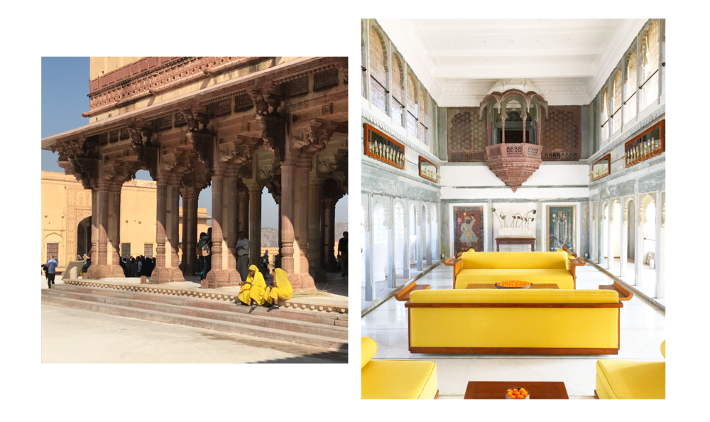 Left: The darbar, where the king would hold court at Amer Fort, Jaipur. Right: The darbar inside Devigarh palace.