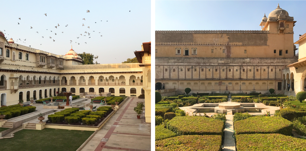 Left: The Taj Rambagh, a palace turned hotel in Jaipur. Right: Inside the Amer Fort, Jaipur.