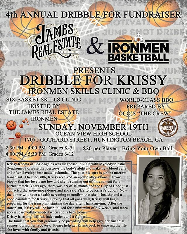 If you know of any k-12 🏀 kids here is another opportunity to help Krissy! James Real Estate, Ironmen Basketball, and OCO are raising money for Krissy at their annual dribbling clinic and bbq. Spread the word!  #teamkrissy #oco #ironmenbasketball #jamesrealestate #basketball #fundraiser #bbq #dribblingskills #savelives #hope #dogood #lifesavers #bonemarrowtransplant #bethematch #thankyou #bonemarrow #donate #dosomething #love #help #charity #mixedmatch #hapa #mixedrace