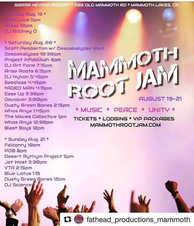1 week!!! Can't wait!!! So excited to be up in the beautiful Sierras playing alongside some of our favorite artists!!!! @mikelovemusic @seedlessband @scottpembertonmusic @ariseroots  and many more!! So much love @fathead_productions_mammoth @mammothroot_jam