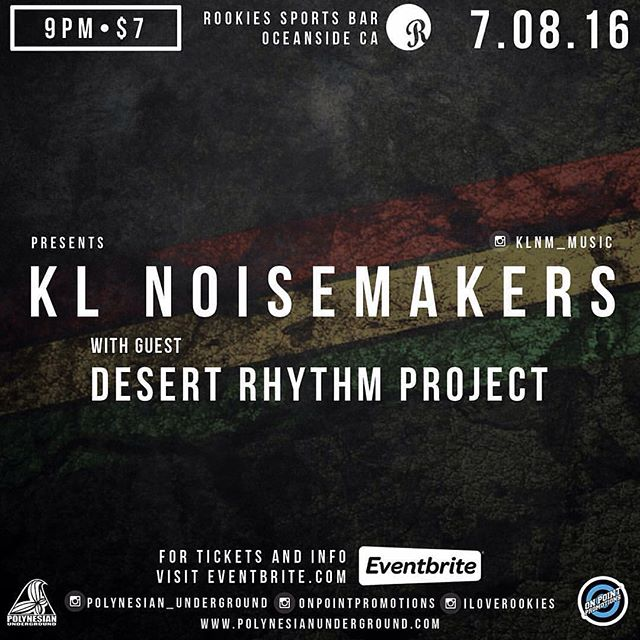 Tomorrow night it's goin down!!! 9pm come on out to @iloverookies we'll be gettin down with @klnm_music !!! Can't wait! @polynesian_underground @onpointpromotions  #socalreggae #desertrhythmproject #mojaveroots #oceanside #livemusic