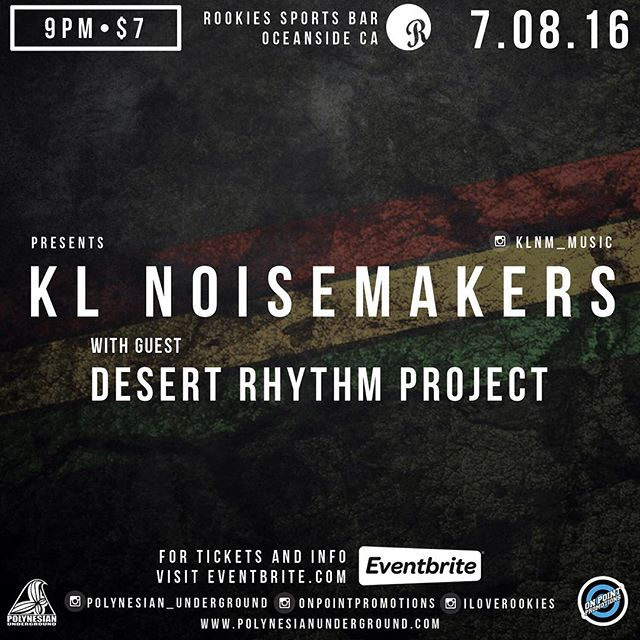 This Friday!!! We're back out on the beautiful Southern California coast with our brothers @klnm_music for a night of roots music, roots vibes, and love in abundance!!! We'll be getting down at the beautiful @iloverookies  in #Oceanside #California.. Would love to see all our coastal family out there.. Big love to @onpointpromotions for hookin up the sesh!!! #desertrhythmproject #mojaveroots #klnm #onpointpromotions