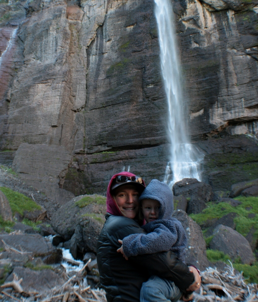 Exploring Bridal Veil Falls near Telluride, Colorado with my little bear.