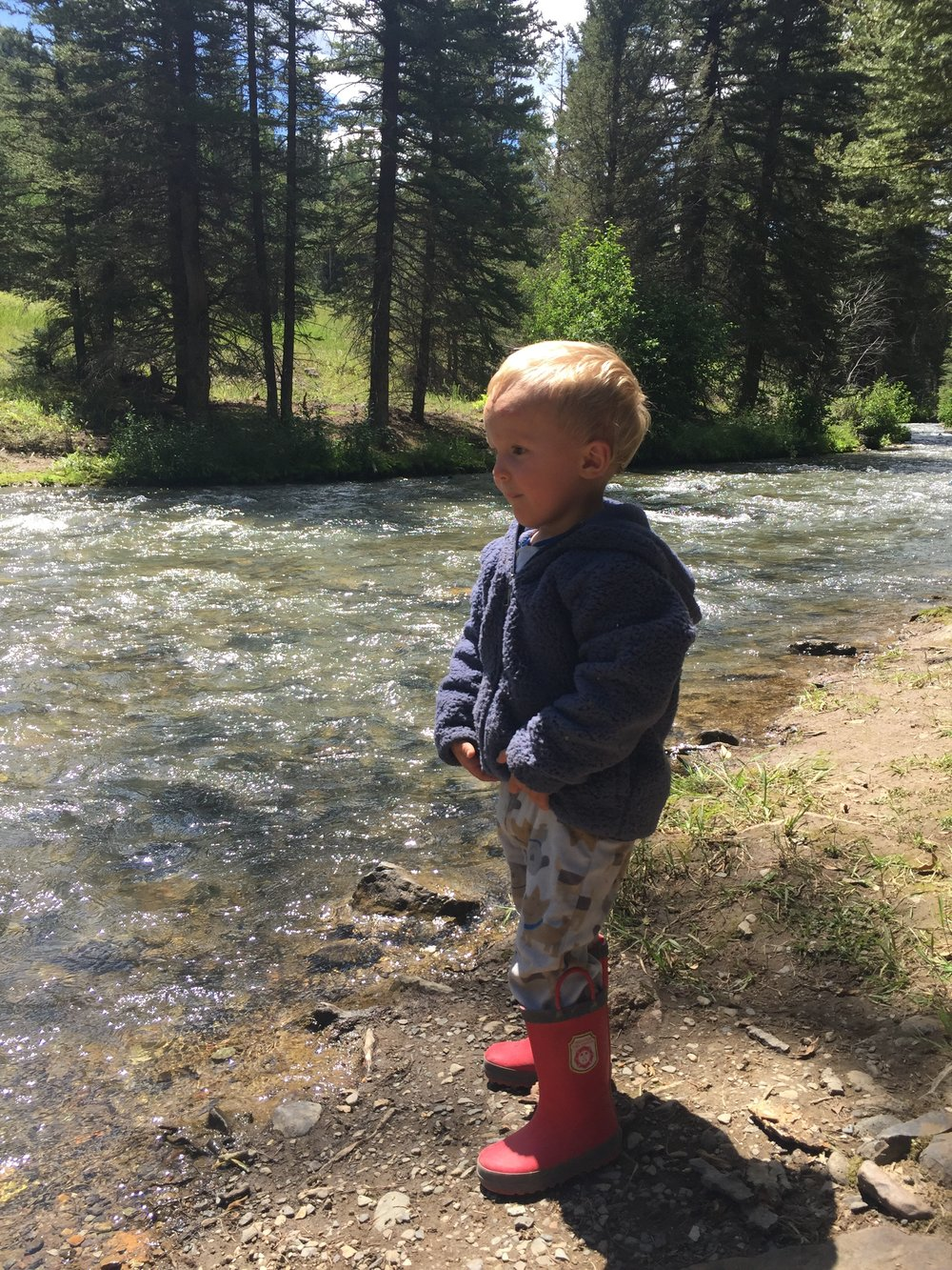 While we waited for Papa, we played by the creek.
