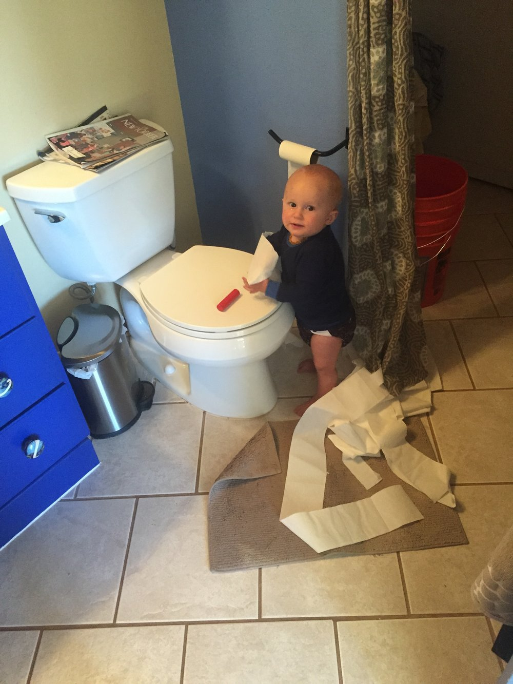 Oh good...another mess. Here's the thing...there will ALWAYS be another mess. Embrace the mess. (Almost two years later...he STILL thinks the TP is the best thing going. Sigh)