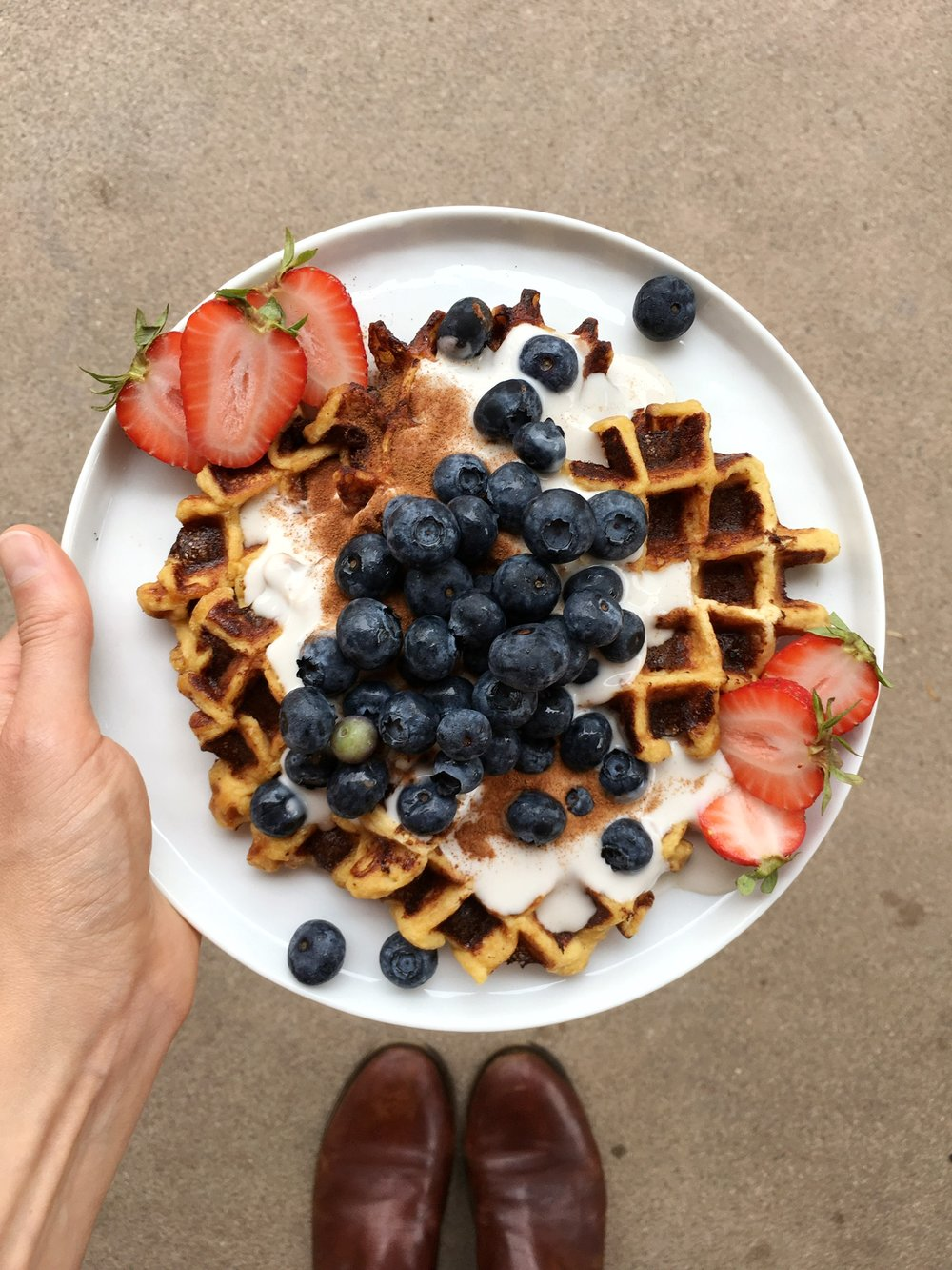 Protein Waffles - These protein waffles are a perfect post workout breakfast, especially topped with dairy free yogurt and fresh berries!