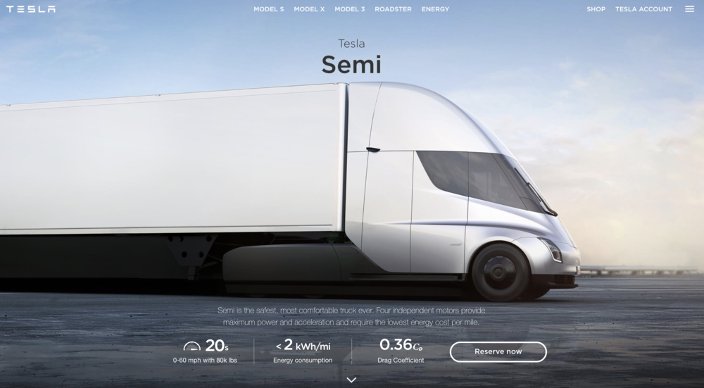 fun, describing the first all-electric truck. - another first-time-ever scenario. the key to this story was communicating safety / performance benefits to an audience who might not know average semi truck stats.[copy: full web page]