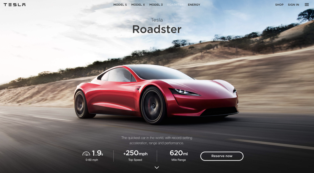 the quickest car in the world. - how to tell the very first story of roadster online: distill technical supercar stats into a few short, powerful sentences. [copy: full web page]