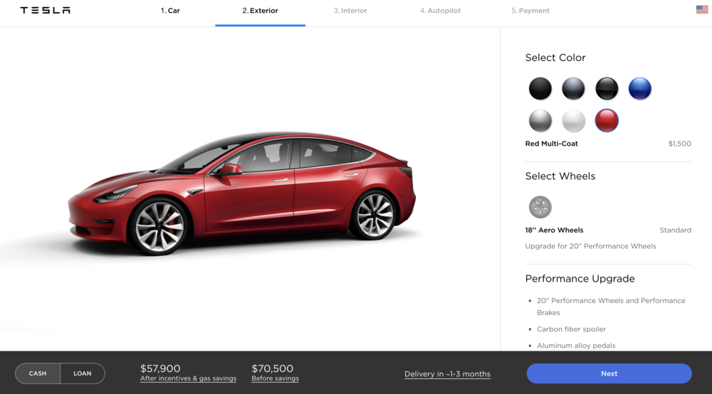 the configurators. - [copy: full online ordering experience for model s, model x, and model 3]
