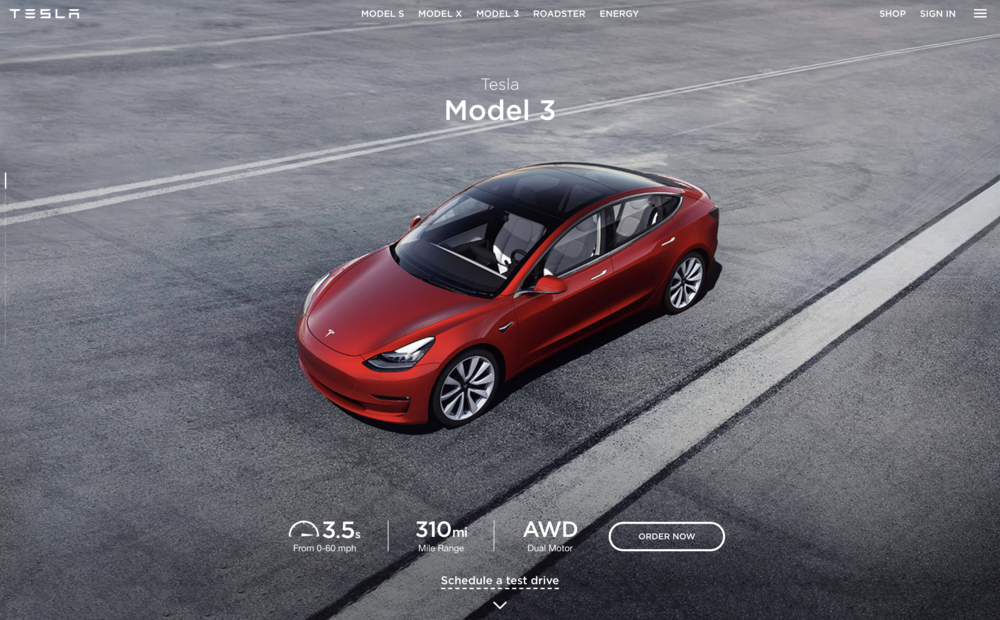 model 3, finally. - here's how i messaged the first mass-market car for a company that's only (ever) sold luxury.[copy: full web page]