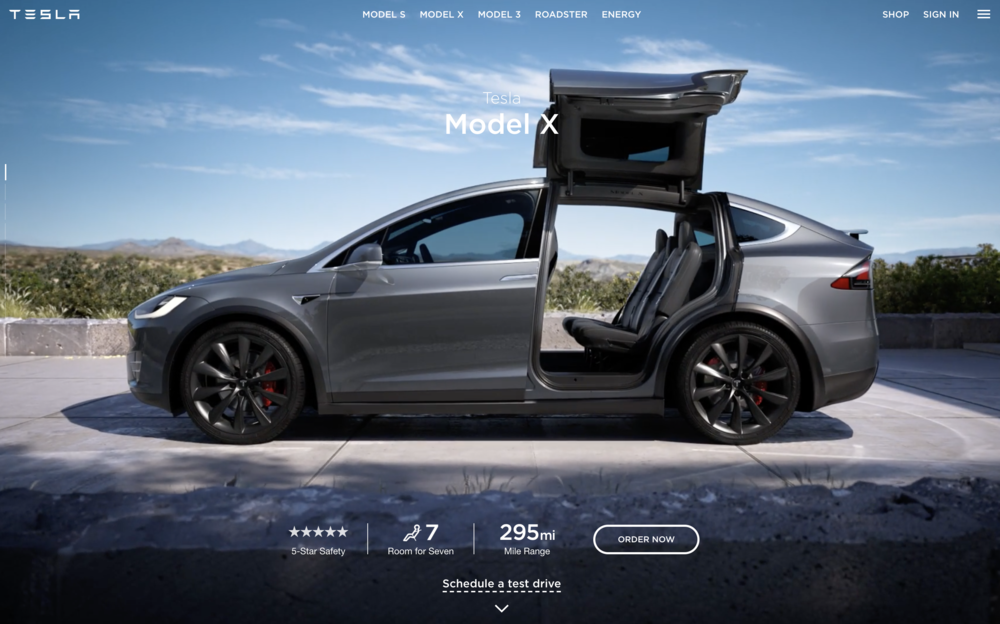there are SUVs and then there's model x. - from the falcon wing doors to the 7 seat configuration, every design and engineering detail in model x was so thoughtful. my job here was to show and tell that to the world. [copy: full web page]