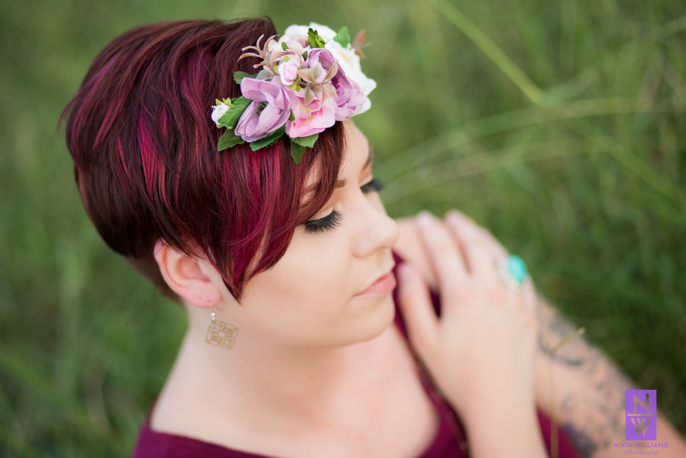 Fleshia's flower headband and turquoise ring add color and interest to the image. Photo By Nikia Williams