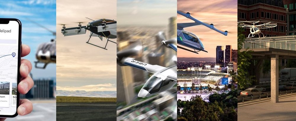 From left - Airbus'  Voom  &  Vahana ,  Uber's Elevate  Partners  Karem  &  Embraer , and  Volocopter  ( there are lots more )