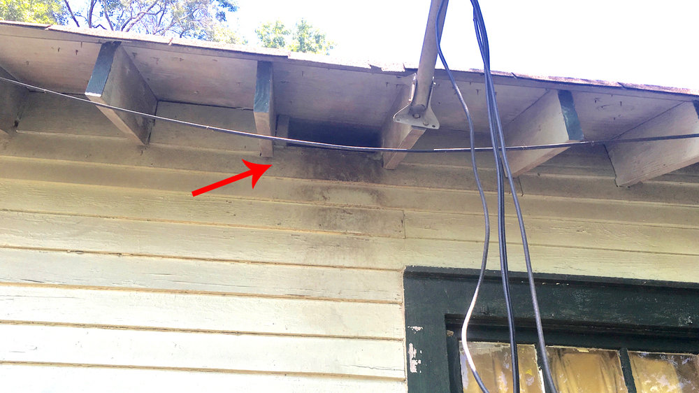 Large hole in house below eave where pests can enter attic