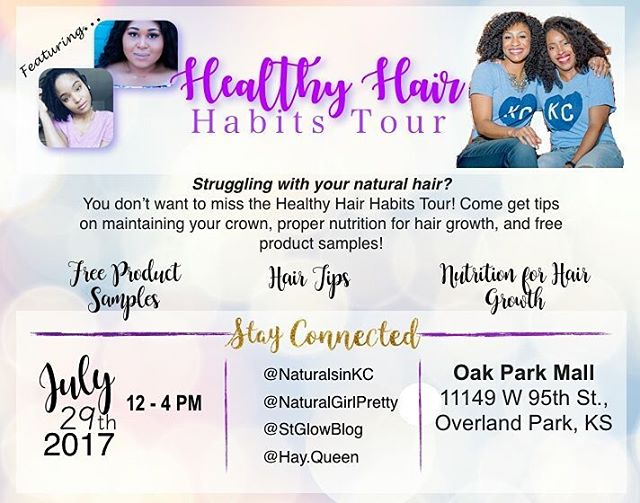Got bad hair habits? Wanna change them? 🔸 Join KC Naturals, Natural Girl Pretty @naturalgirlpretty, St Glow @stglowblog, and Hay.Queen @hay.queen at Oak Park Mall from 12 noon to 4 pm for the most effective strategies. Together we're going to teach you how to replace your bad habits with healthy habits! 🔸 The workshop overview: 🔸 *Identifying curl characteristics *How to perform the porosity hair test *Product pH testing *Choosing the correct products for your hair *Creating an effective hair care regimen *Moisture/Protein balance *To trim or not to trim 🔸 We'll even provide the healthy food and drinks! 🔸 There will be a giveaway as well! Don't miss it! 🔸 Tag a curlfriend! . . . . 💌Check out the link in my bio for updates on the group, unique hair tips, to learn more about our members, or to share your hair story❣💌 www.naturalsinkc.com  __________________________________ #naturalsinkc #naturalhair #shrinkage #healthyhairhabitstour  #healthy #braids #teamnatural #hairgoals #hairjourney #4chair #healthyhair #twistout #meetup #kansascity #kc #minitwists #naturalhairgroup #hairgoals #hairtips #haircrush #happyhealthyhair #kchair #913 #816 #kcnaturalhair #melanin #blackgirlmagic #blowout