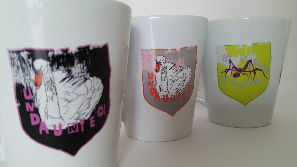 Mugs inspired by the slogans and heraldry of the Suffragettes' banners (available to purchase directly via  the nearlybutnotquite etsy store ) along with A6 cards and a zine which explores them.  Other work is available via  Redbubble .