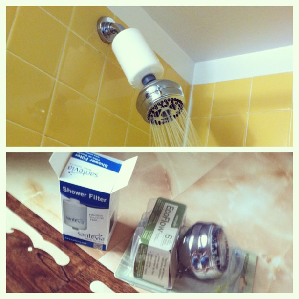 "I set up my ""green"" shower this weekend. I connected a Santevia shower filter to an Eco water saving shower head.     Why filter shower water? Well it's believe that more chlorine and volatile substances are absorbed during a hot shower than in drinking tap water during the day. Santevia systems filter out chlorine, heavy metals and sediment while softening water and  remineralized with tourmaline which is high in silica for hair & skin and provides grounding negative ions.    Why is chlorine of concern? We are ingesting more than 300x a safe amount every day. Research on this topic shows it increases the risk of cancer, birth complications, asthma, liver malfunction, and auto-immune conditions.     We carry Santevia products at the clinic, and they're actually quite inexpensive!     #dartmouthnaturopathic #chlorinatedwater #autoimmune #shower #santevia #health #green (at Dartmouth Naturopathic Health Centre)"