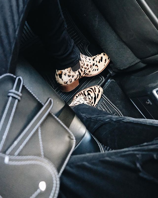 i'll admit: every now and then, i do get a little wild. 🐆 shooting, meetings at the agency, back-to-back events... i feel like i've spent half the day in the back of a car. 🚕 [bag: @dior, shoes: @stevemadden].