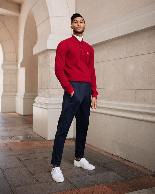 red, white and boss. 💪🏽 anyone else ready for the warmer weather? i've started stocking up on my spring essentials, and relaxed joggers, lighter layers, and fresh white kicks are all on the list. here's a little preview of what's ahead, courtesy of @lacoste. 👕🙆🏽‍♂️👟 swipe over for a closer look at these new #lacostepiquee sneakers, available now at lacoste.com. 🕵🏽‍♂️ #lacoste #ad