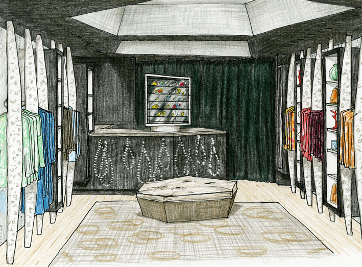 MADISON AVENUE SKETCH When Allegra showed me the space for her New York store, long, narrow and dark, it was like a cave. With our shared love of coral, I thought of a dark, underwater cavern with angular silver canopies (raising the ceiling between beams), all in seaweed green against which her bright colours would glow, with columns of white coral off which the clothes would hang.