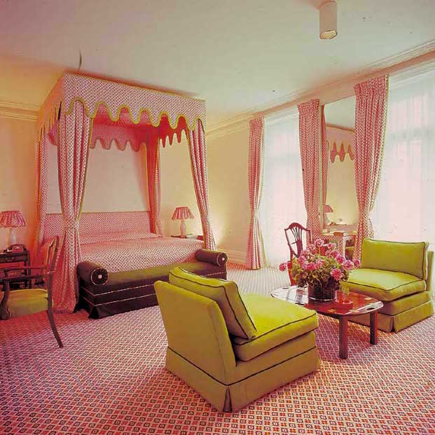 David Hicks Interior Designer Pink Fabric Bedroom