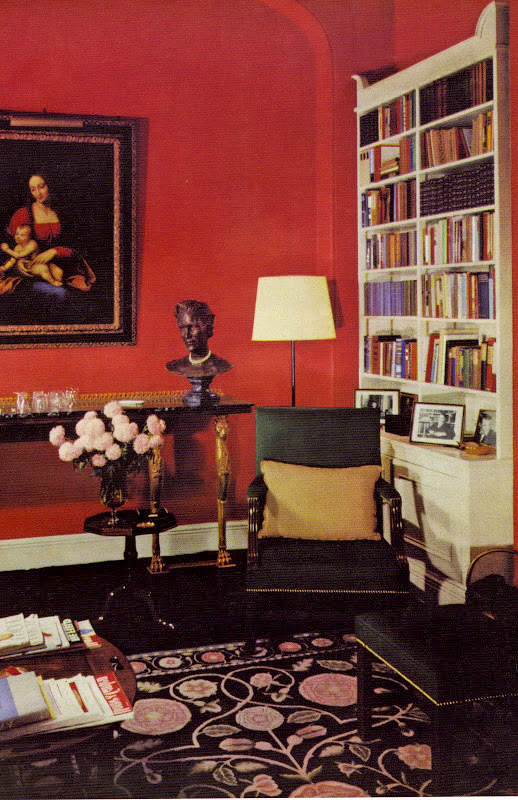DAVID HICKS INTERIOR DESIGNER STUDY RED WALLS