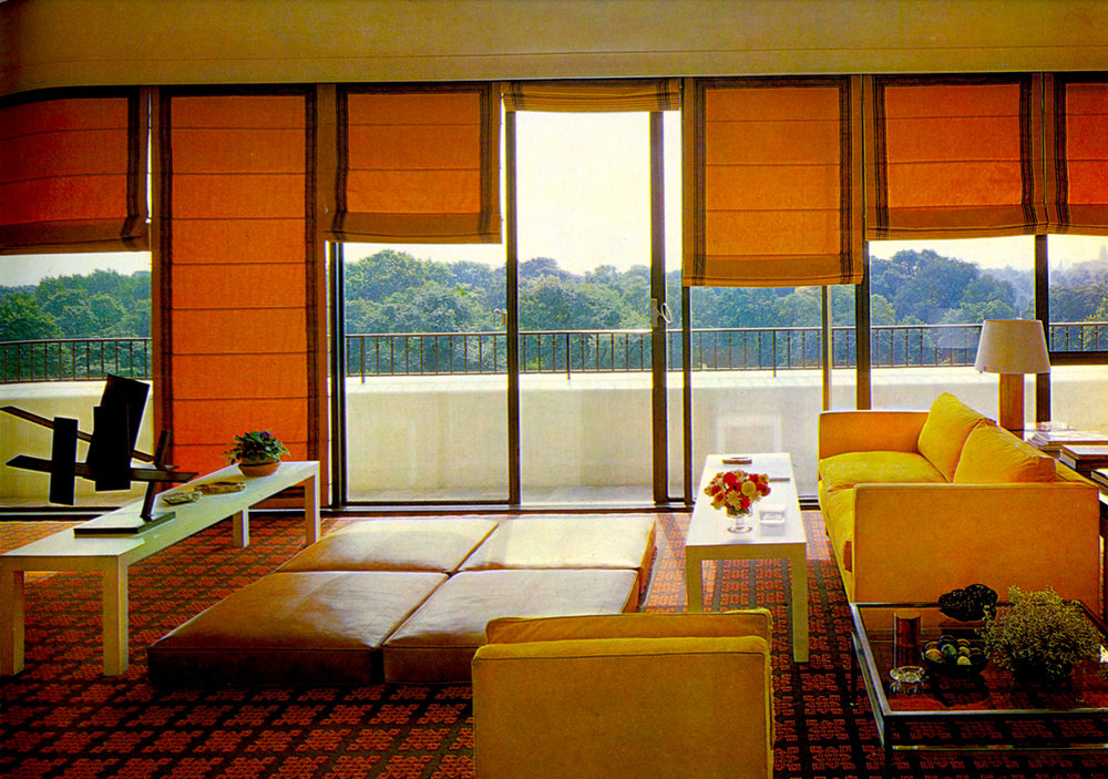 DAVID HICKS INTERIOR DESIGNER ORANGE LIVING ROOM WINDOWS
