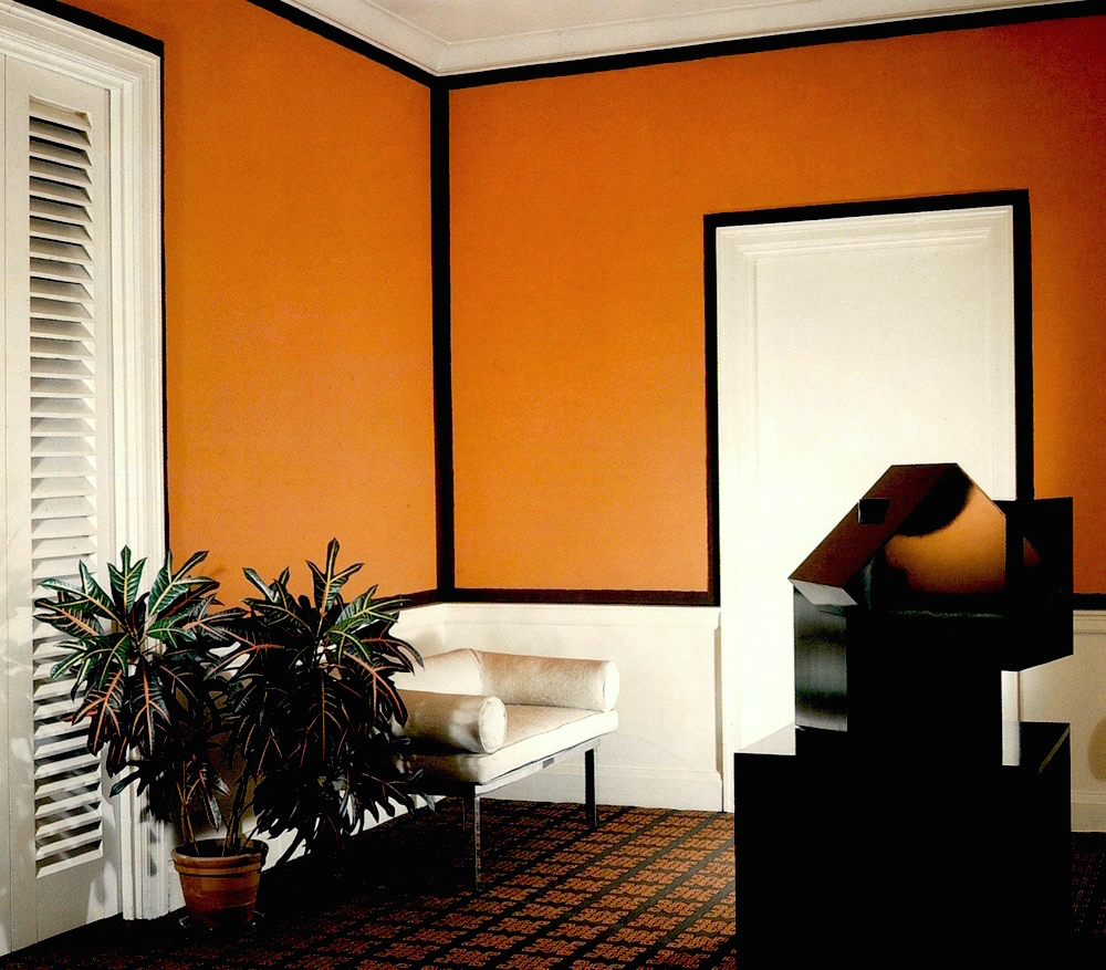 DAVID HICKS INTERIOR DESIGNER LORD LADY CHOLMONDELEY ORANGE ROOM