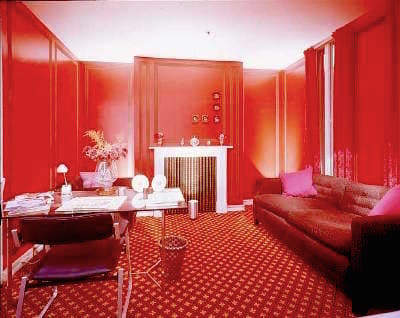 DAVID HICKS INTERIOR DESIGNER RED DRAWING ROOM