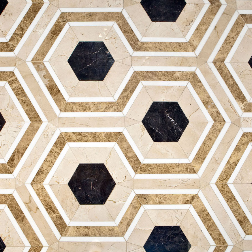 DAVID HICKS ASHLEY HICKS HEXAGON HOUSE MOSAIC TILES