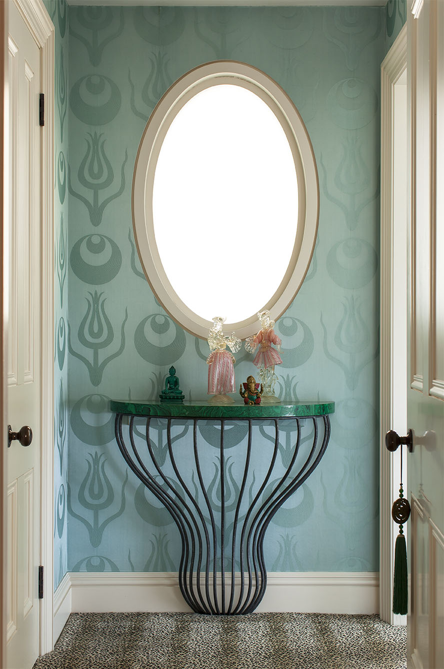 BEDROOM ENTRYWAY Featuring Ashley's Faux-Malachite Top Console Table