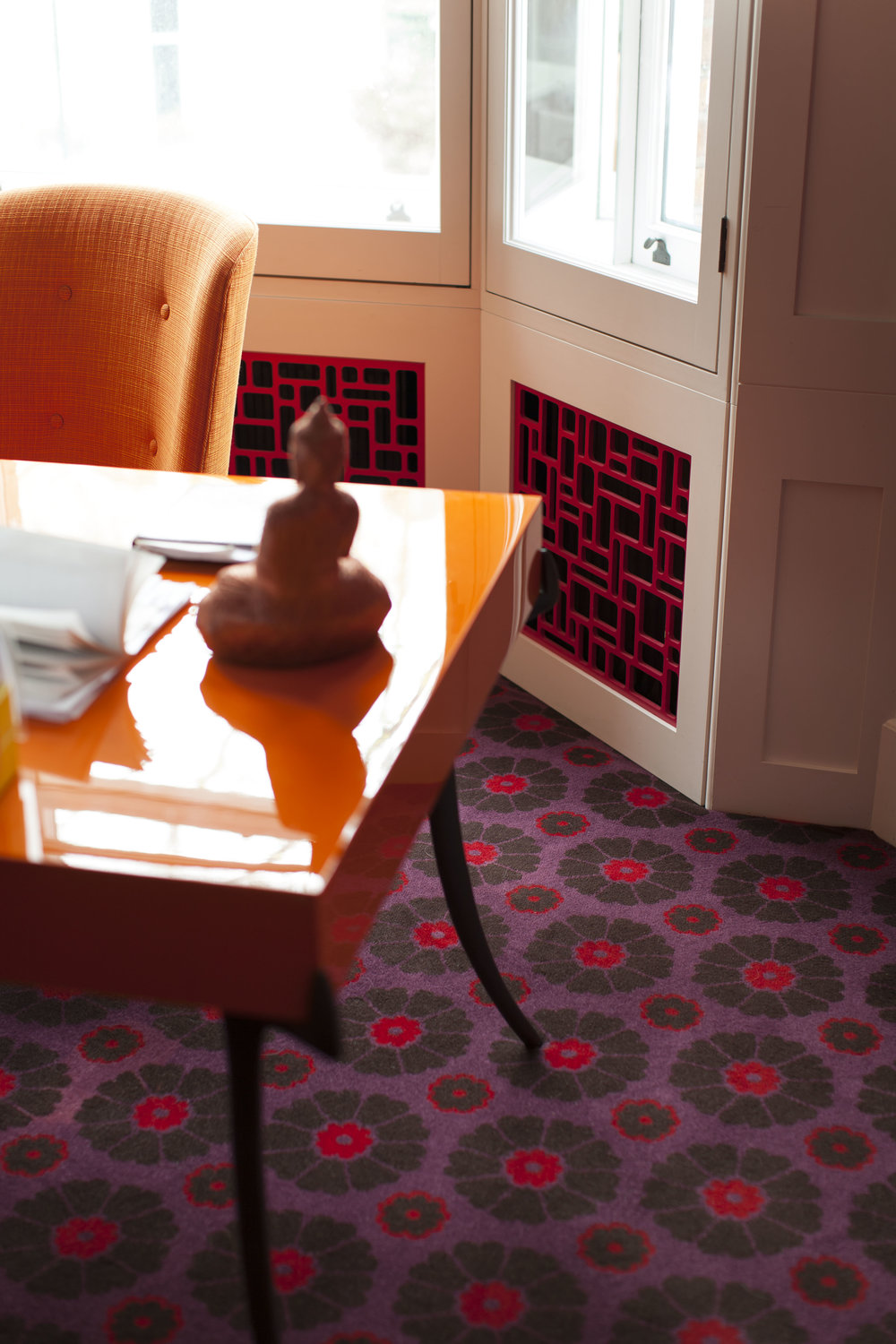STUDY Featuring Ashley's Lacquer Sabre Desk and his Daisy Carpet produced with Alternative Flooring