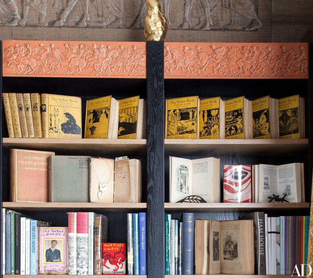 BOOK SHELF   Copies of the  Yellow Book , the influential 1890s periodical that was published in the couple's apartment building, are displayed in a bookcase.
