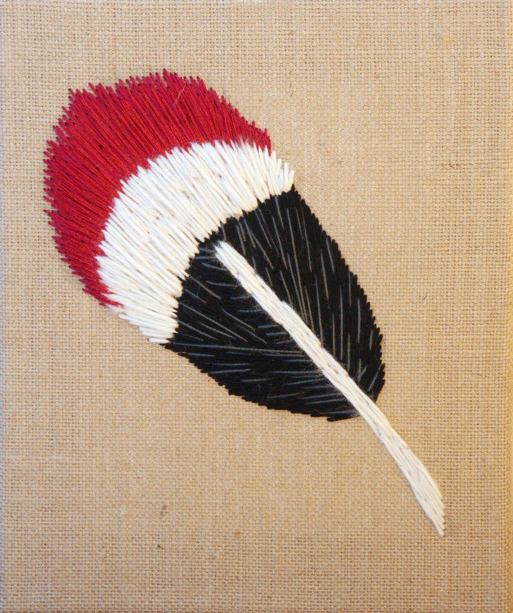 Rufous Hummingbird | embroidery on burlap | 8×10 | $85