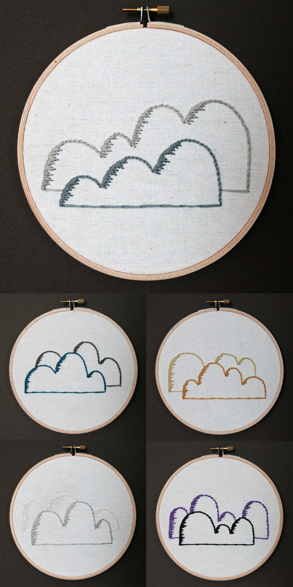Clouds | embroidery on canvas | $25/each
