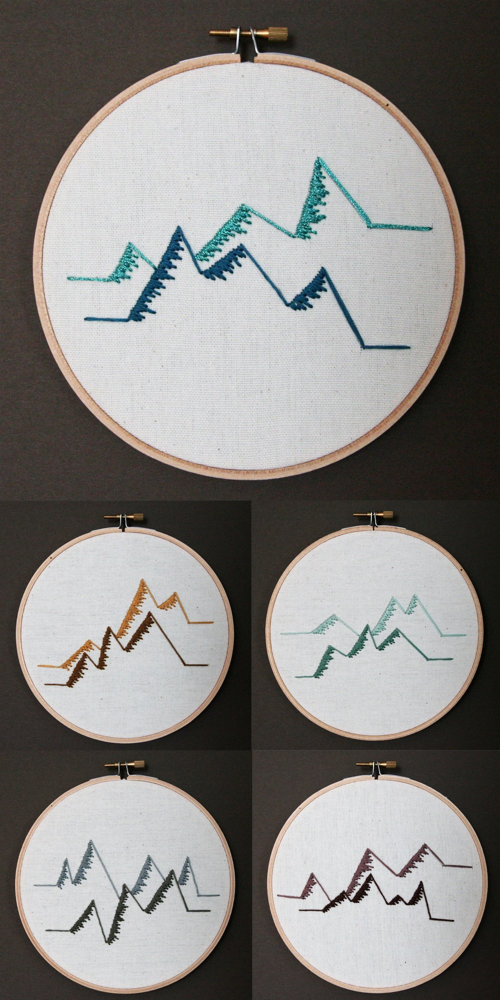 Mountains | embroidery on canvas | $25/each