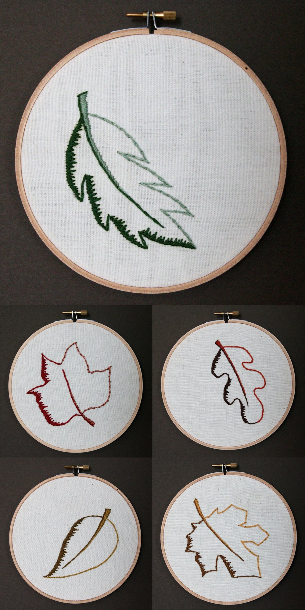 Leaves | embroidery on canvas | $25/each